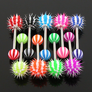 Candy Stripe Silicone Spikey Koosh Ball Barbell