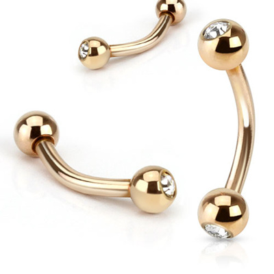 CZ Gem Rose Gold IP Curved Barbell