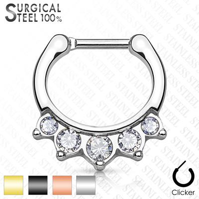 Five Crystals Hanging Set Septum Clickers