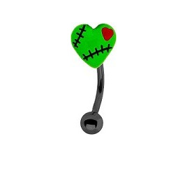 Green Stiched Up Heart Eyebrow Bar