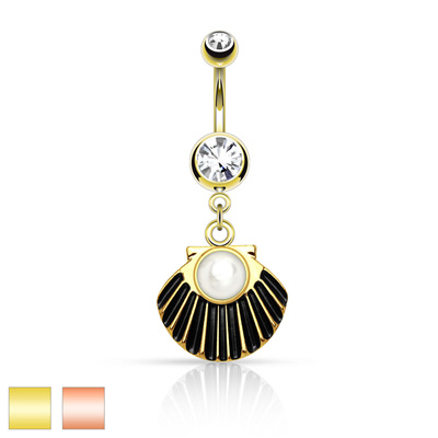 Pearl Centered Sea Shell Dangle Gold Plated Navel Bar