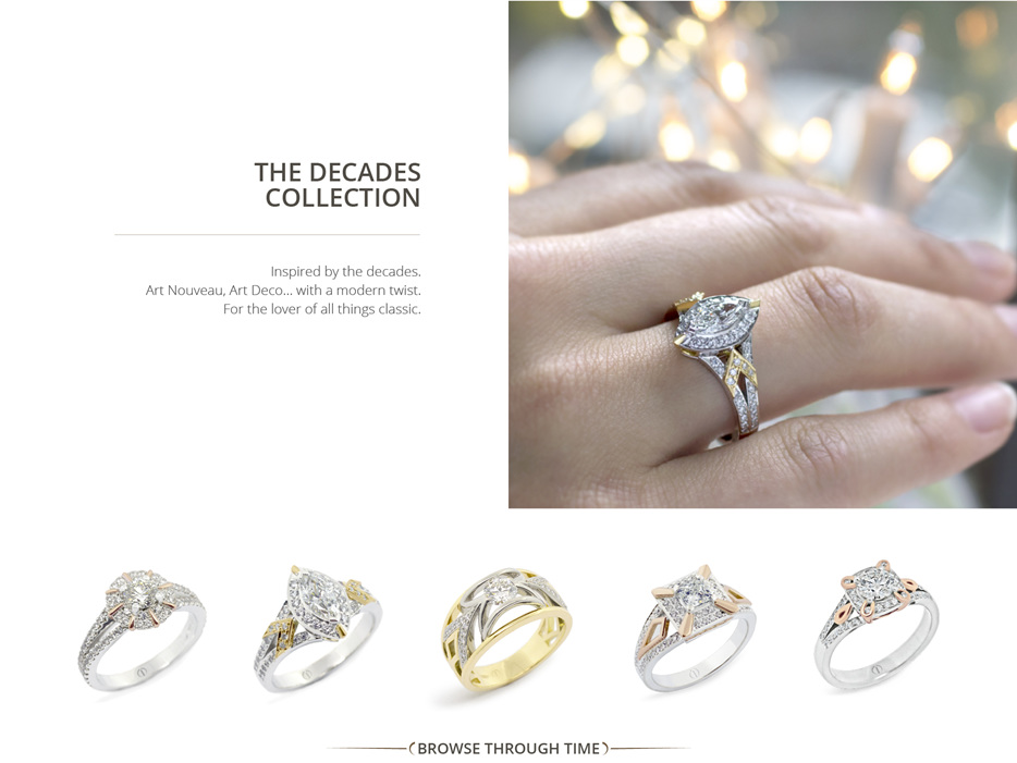 The Decades Collection: Art Nouveau, Art Deco inspired modern diamond jewellery
