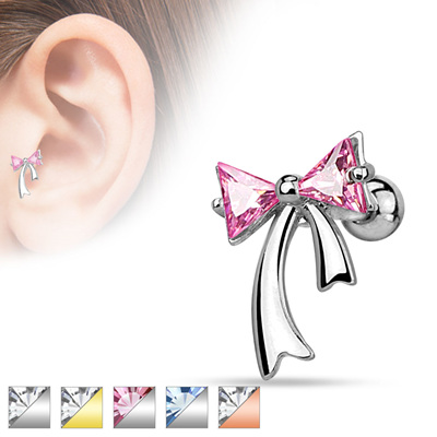 Triangle CZ Ribbon  Cartilage Bar