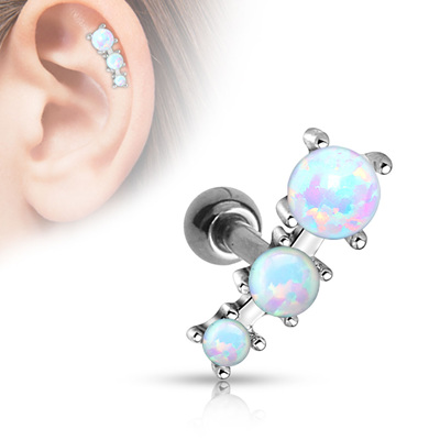 Triple Opal Ball 316L Surgical Steel Cartilage Barbell