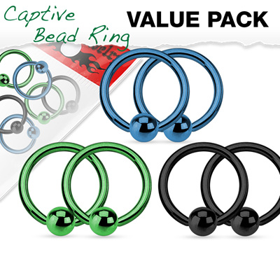 Value Pack 3 Pairs Annealed Captive Bead Rings Titanium Anodized