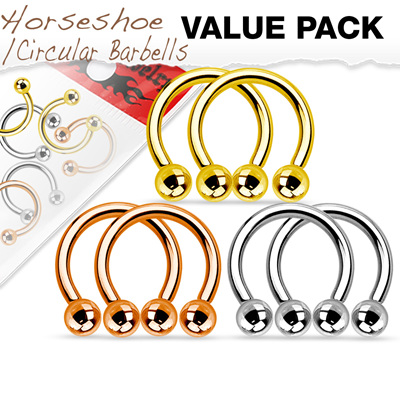 Value Pack Three Pair IP Copated Horseshoes