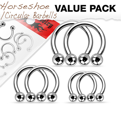 Value Pack Three Pairs 316L Surgical Steel Horseshoes.